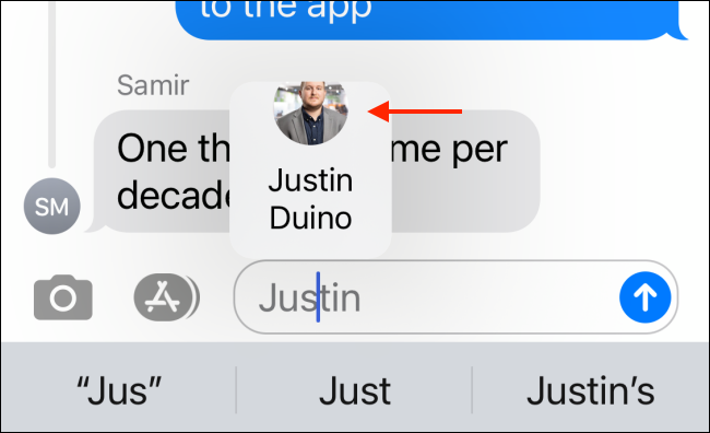 Tap the contact you want to mention in the popup.