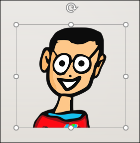 A selected image of a cartoon man in PowerPoint.