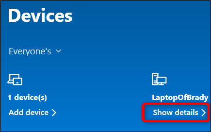 """Click """"Show Details"""" under the device you want to lock."""