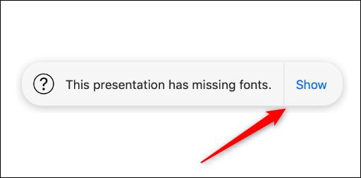 """คลิก """"แสดง"""" เพื่อดูข้อมูลเพิ่มเติมเกี่ยวกับป๊อปอัปข้อผิดพลาดใน Keynote"""