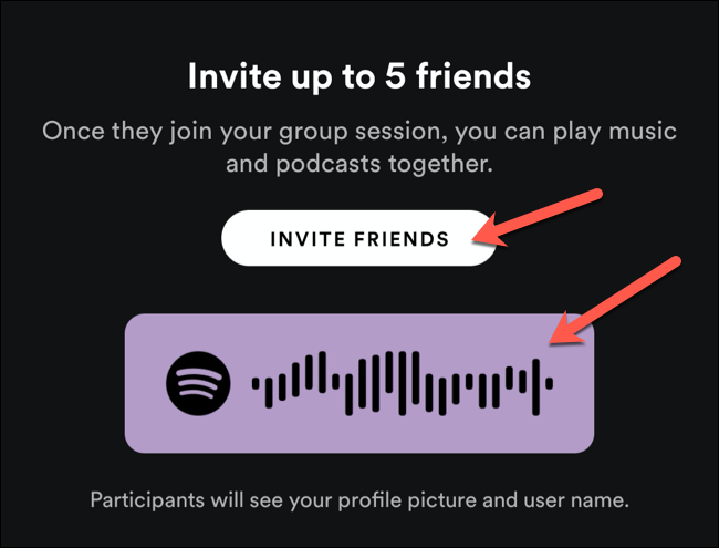Use the sharing code to invite nearby users to a Spotify group session, or tap Invite Friends to share it with other users