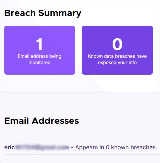 Breach summary page for Firefox Monitor