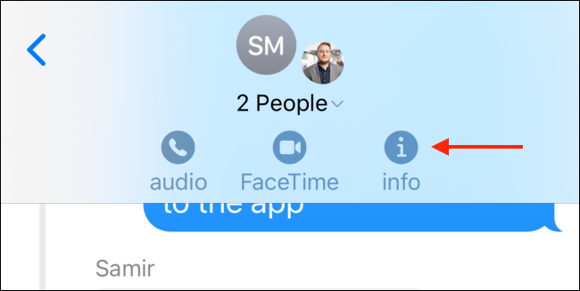 Tap Info button from iMessage group chat