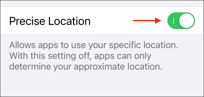 Tap Precise Location To Disable The Feature
