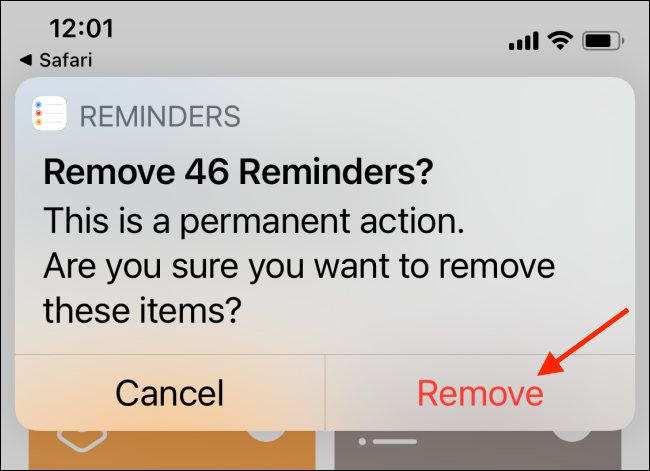 """Tap """"Remove"""" to delete all of your completed reminders."""