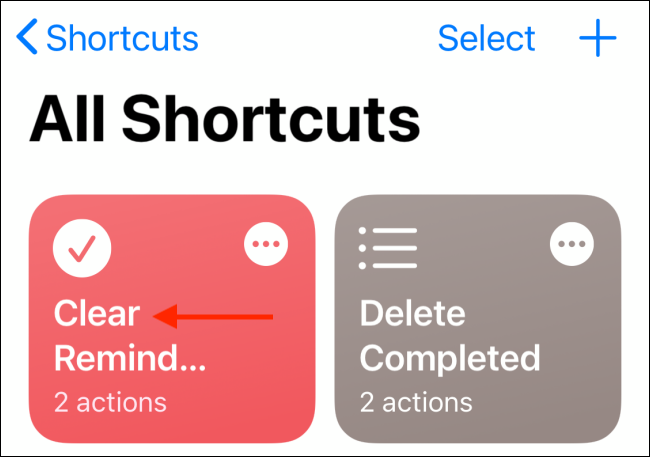 "Tap your shortcut in the ""All Shortcuts"" menu."