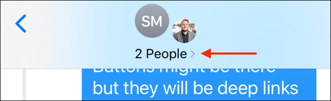 Tap the arrow button from top of conversation