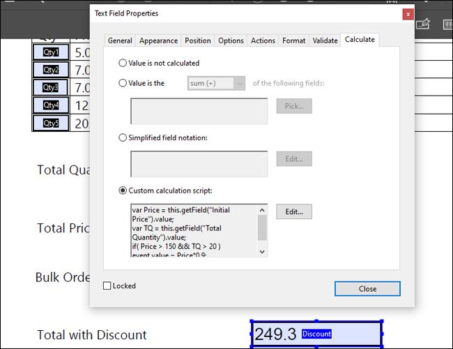 Adobe Acrobat Multiple Conditions