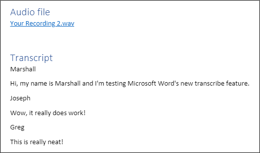 Transcription added to Word doc