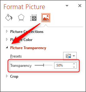 "Click the arrow next to ""Picture Transparency,"" and then click and drag the ""Transparency"" slider."