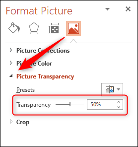 """Click the arrow next to """"Picture Transparency,"""" and then click and drag the """"Transparency"""" slider."""