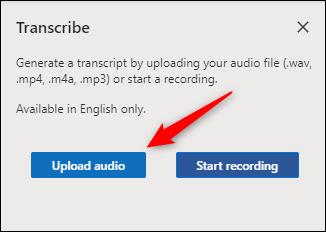 Upload audio button