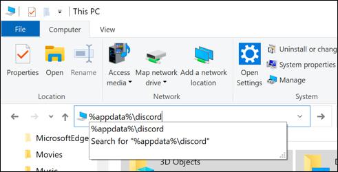 """""""%appdata%\discord"""" in the path file box in Windows File Explorer."""