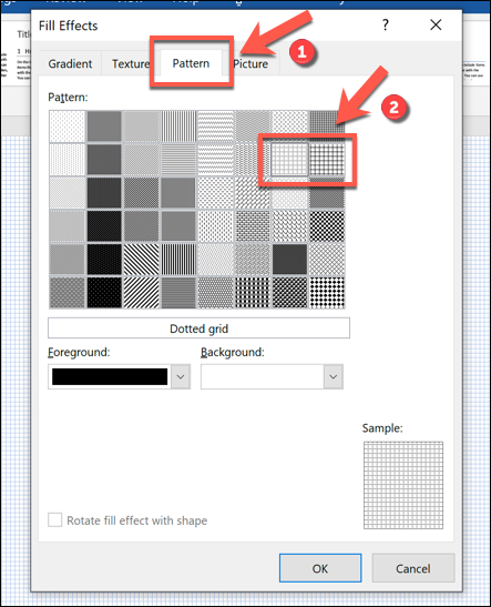 """Click """"Pattern,"""" and then select either """"Dotted Grid"""" or """"Large Grid."""""""