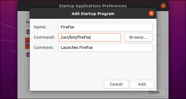 Adding a custom startup program on Ubuntu.