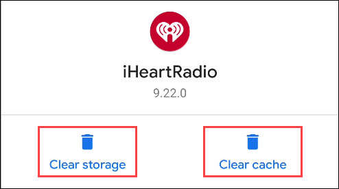 clear storage or clear cache