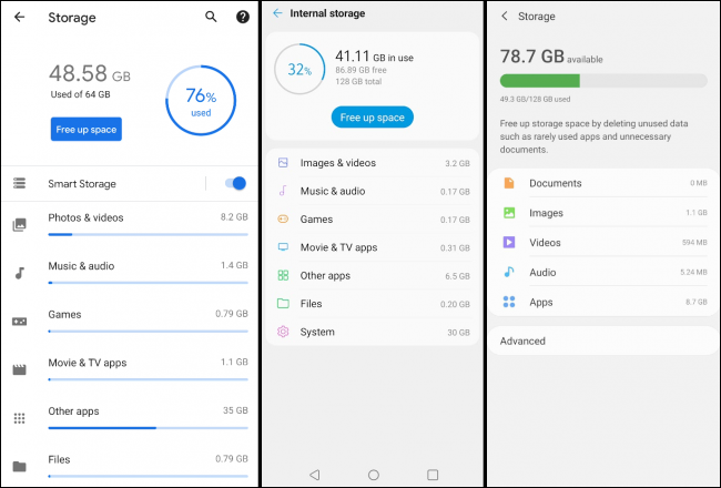 pixel LG and samsung storage screens