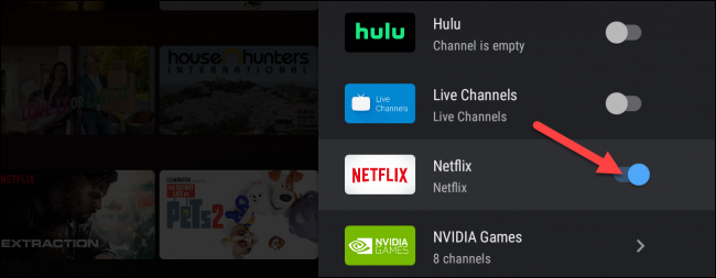 android tv add netflix row