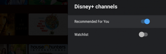 android tv add disney+ row