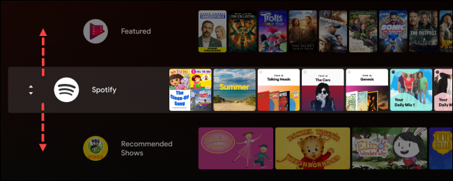 android tv move row