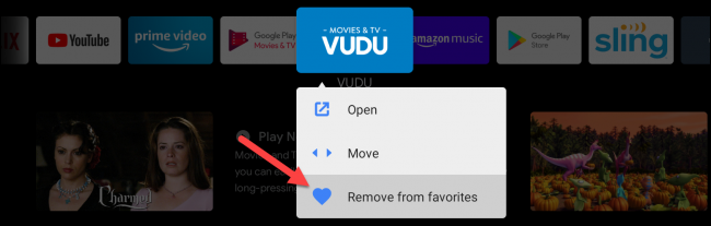 android tv remove from favorites