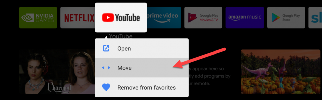 android tv move favorite apps