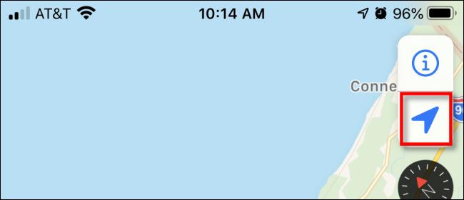 Pressione a seta de navegação no Apple Maps no iPhone.