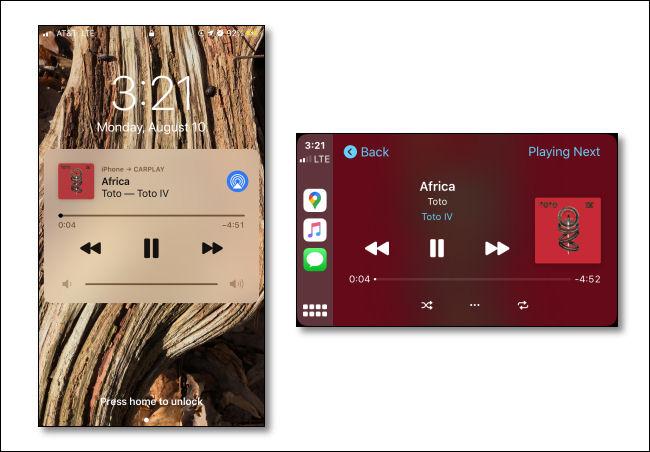 Una imagen de una aplicación de música que reproduce una canción en un iPhone junto a otra imagen de la misma canción que se reproduce en una pantalla de CarPlay.