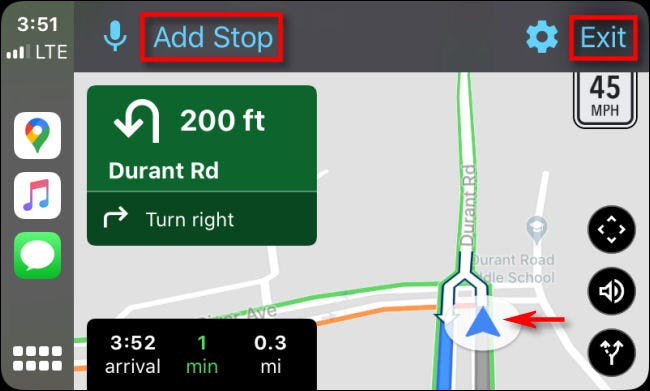 Following turn-by-turn directions in Google Maps on CarPlay through iPhone.