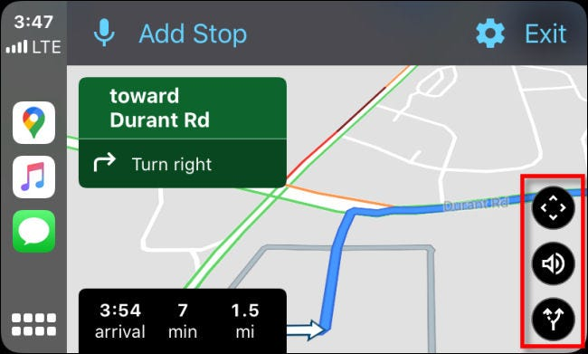 Examining the three black option buttons in Google Maps on CarPlay through iPhone.