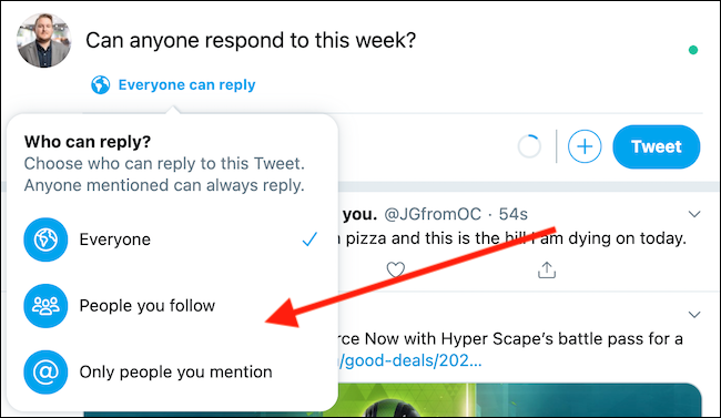 """Choose """"People You Follow"""" or """"Only People You Mention"""" from the drop-down menu"""
