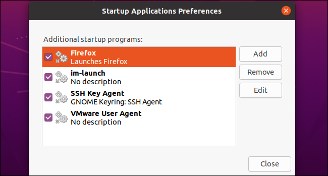 Firefox as a custom startup application on Ubuntu 20.04 LTS.