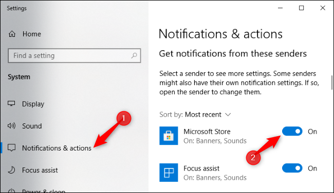 Disabling Microsoft Store notifications in the Settings app.
