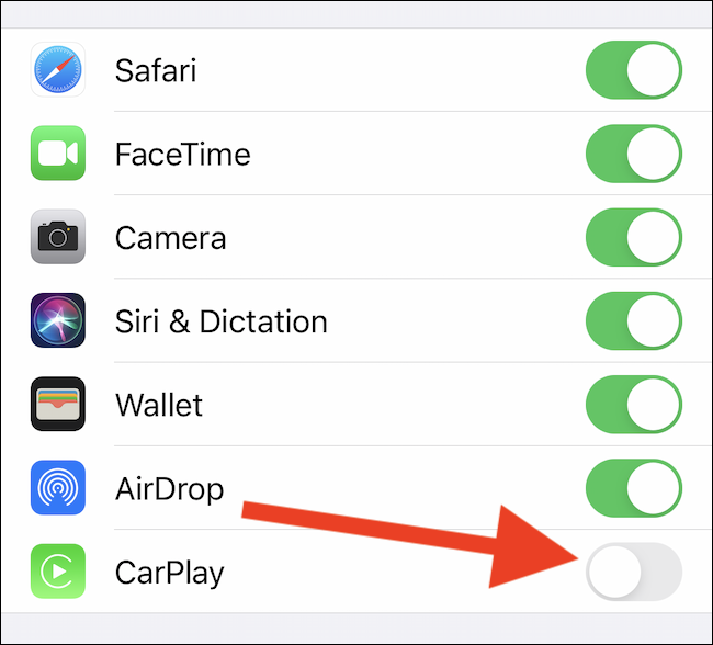 "Desactiva la opción ""CarPlay"""