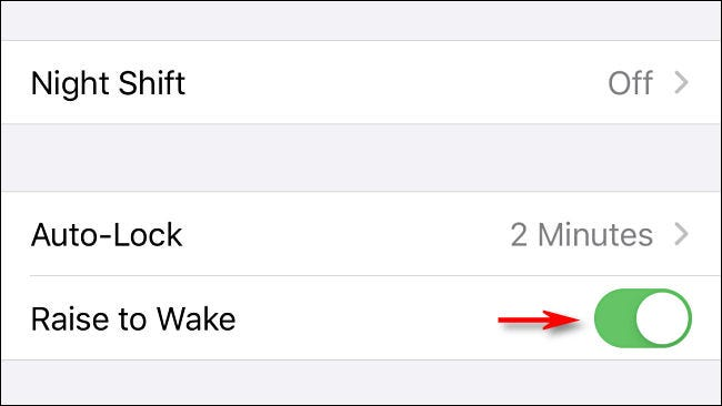 "Toggle-Off ""Raise to Wake."""