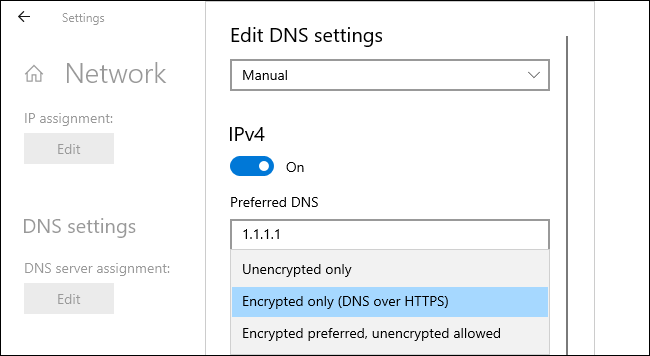 Enabling DNS over HTTPS on Windows 10.