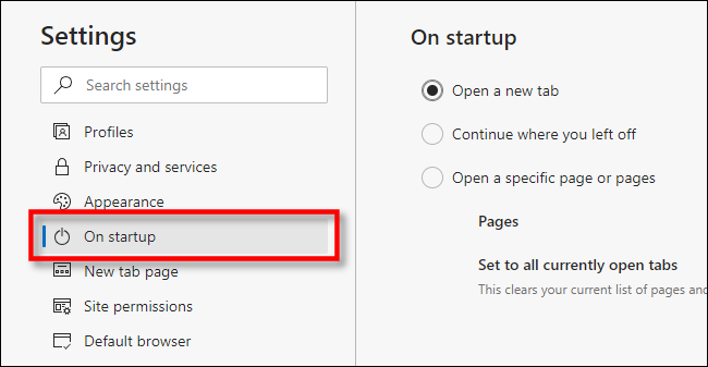 """In Edge Settings, click """"On startup."""""""