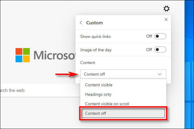 """In Edge, select """"Content off"""" in the New Tab customization menu."""