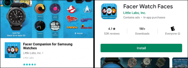 The Facer app in the Galaxy App and Google Play Stores.