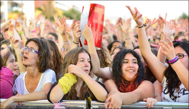Fans at a pop festival in Barcelona, Spain.