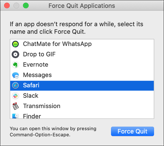 "The macOS ""Force Quit Applications"" dialog."