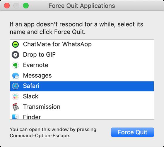 """El cuadro de diálogo """"Forzar salida de aplicaciones"""" de macOS."""