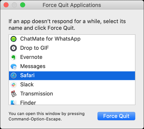 """The macOS """"Force Quit Applications"""" dialog."""