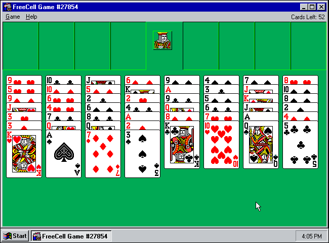 "A Microsoft ""Freecell"" game in progress on Windows 95."