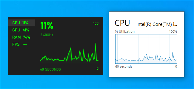 Xbox Game Bar and Task Manager CPU Performance Graphs.