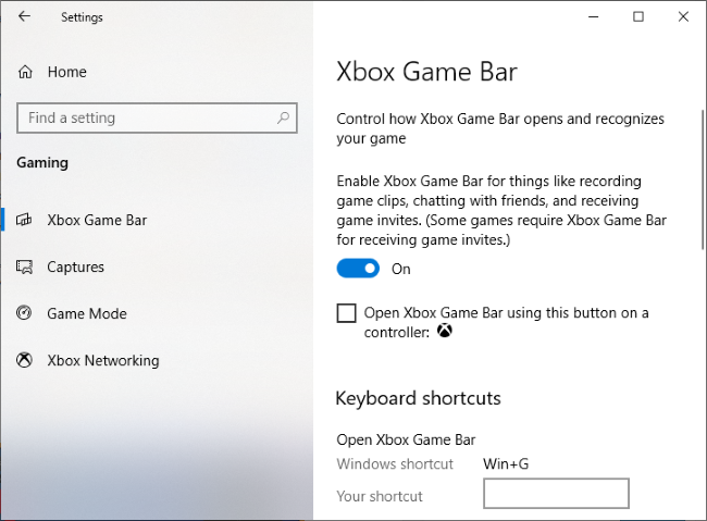 The Settings > Gaming > Xbox Game Bar window.
