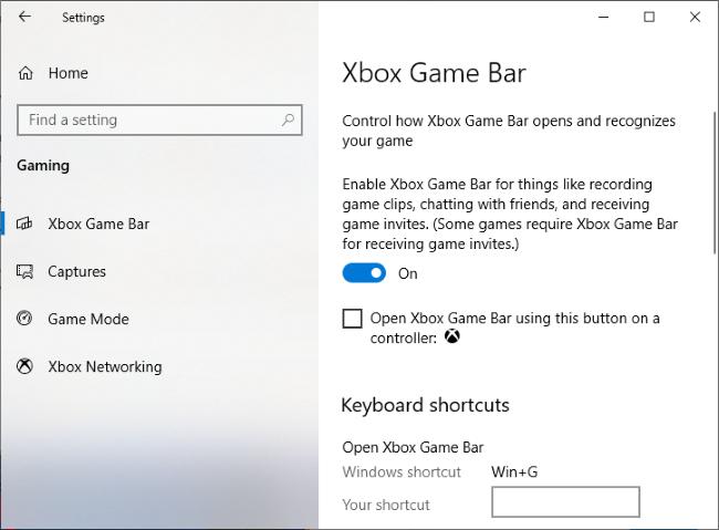 The Settings > Gaming > Xbox Game Bar window.