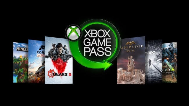 El logotipo de Microsoft Xbox Game Pass rodeado de juegos.