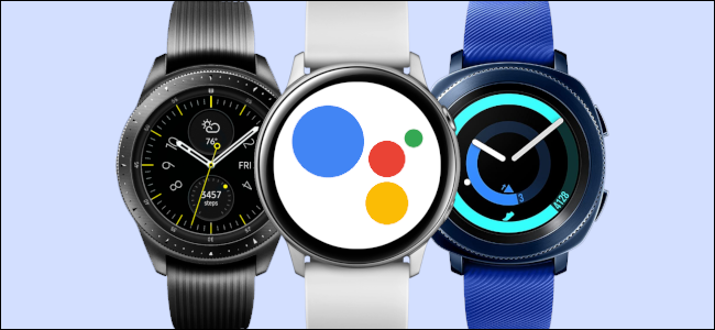 Google Assistant running on three Samsung smartwatches.