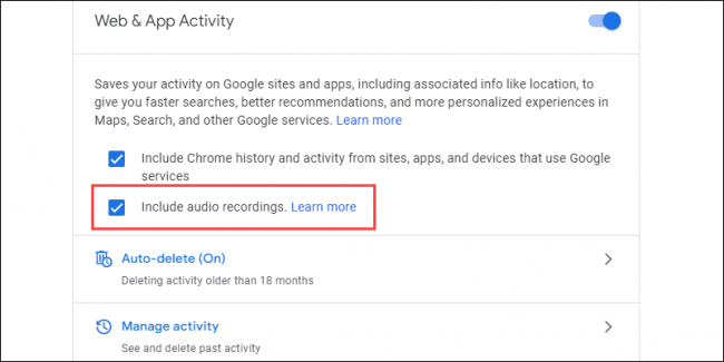 opt in grabaciones de audio de google